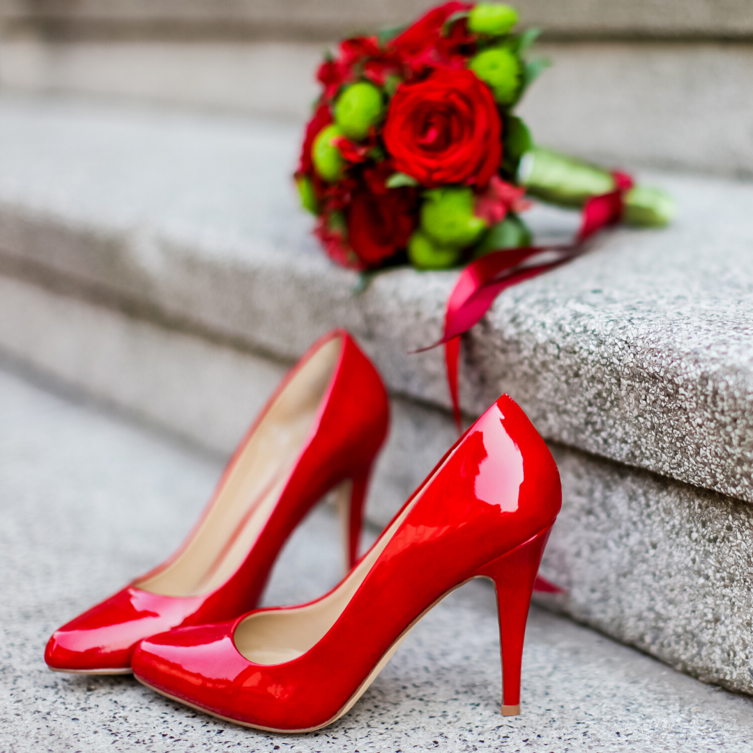 Red Patent Heels with Red Rose Bouquet.